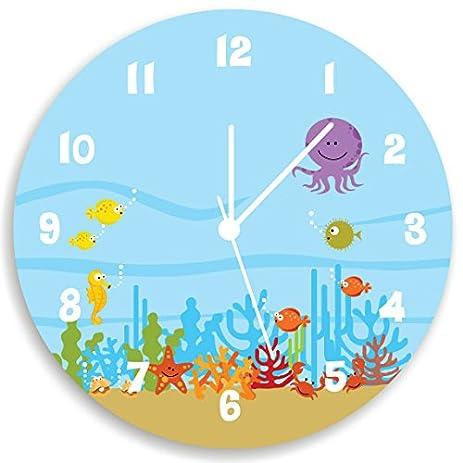 Amazon.com: Kids Wall Clock, Ocean Theme Children Room Art, Life ...