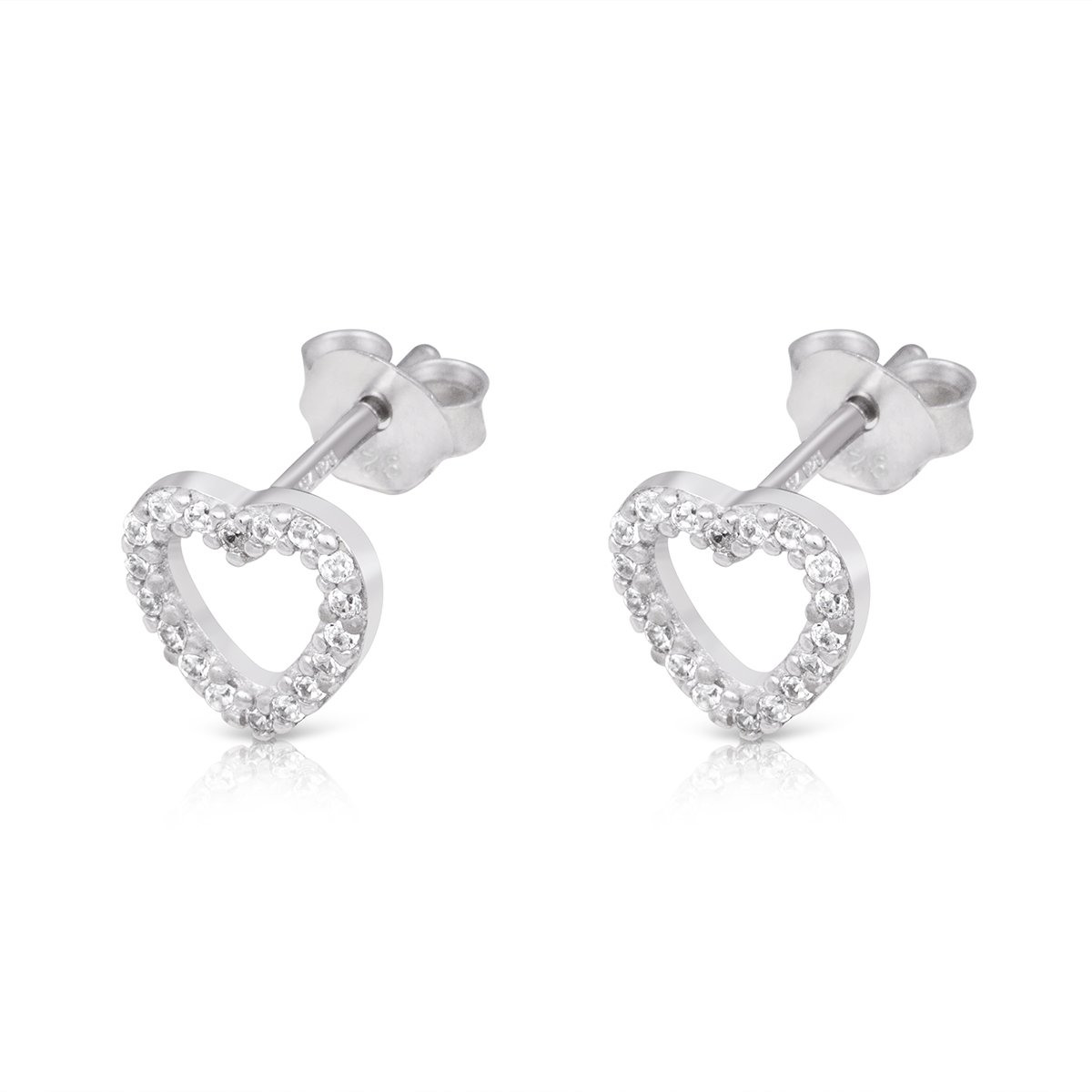 Sterling Silver CZ Heart Shaped Rhodium Plated Simulated Diamond Small Stud Earrings