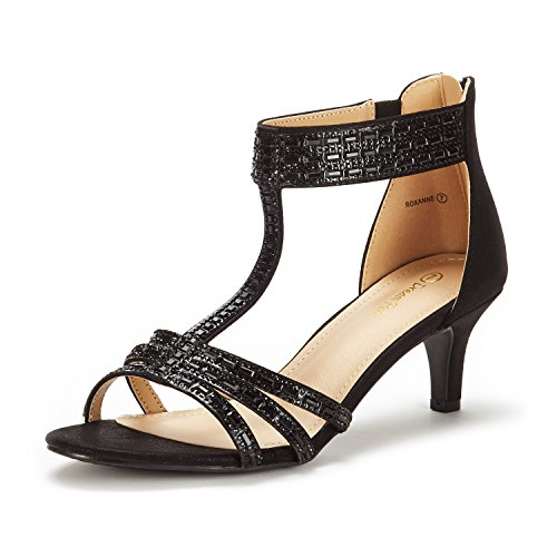 DREAM PAIRS Women's Roxanne Black Fashion Stilettos Open Toe Low Heel Dress Pump Heel Sandal Size 9 B(M) ()