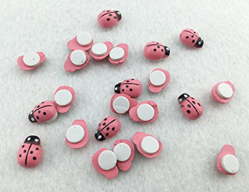 HoneyToys 180Pcs Painted Wooden Ladybug/Self Adhesive/Craft/Decorations/Home Decor/Plants 10x13mm (Pink)