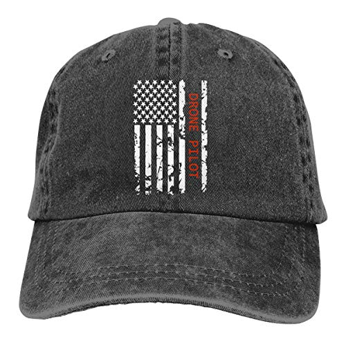 Drone Pilot USA Flag Unisex Baseball Cap Cotton Denim Adjustable Sun Hat for Men Or Women Black