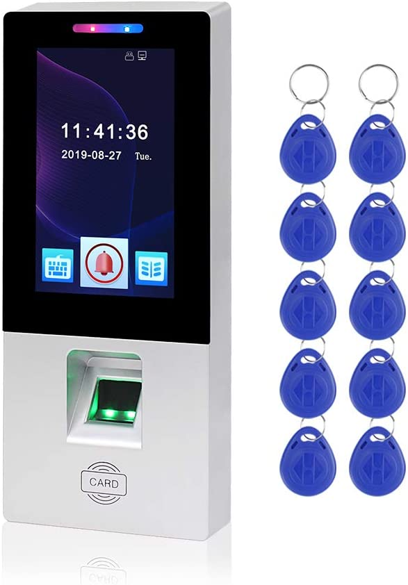 MM18S+10 LEXI 4.3inch Biometric Fingerprint Access Control System Electronic Time Clock Attendance Machine with Touch Screen Panel