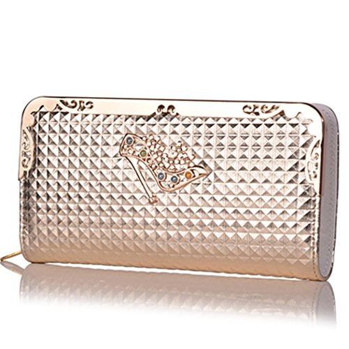 Duo La High Heels Pattern Card Holder Ladies Purse Clutch Long Wallet (Golden) - Double Compartment Mobile Tray Rack