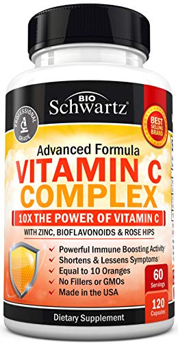 Vitamin C 1000mg Capsules with Zinc, Rose Hips & Bioflavonoids – Immune Support Supplement with 10x The Power of Vitamin…