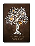 "DecorArts -""Family Tree"" - Personalized canvas prints Artwork, includes family members Names, Perfect Gift for Anniversary, Wedding, Birthday or family reunion celebration 18"" x12"""