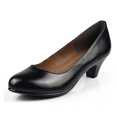 73b8b9bc6d7 Amazon.com | KALENDS Women's Genuine Leather Low Heel Black Work ...