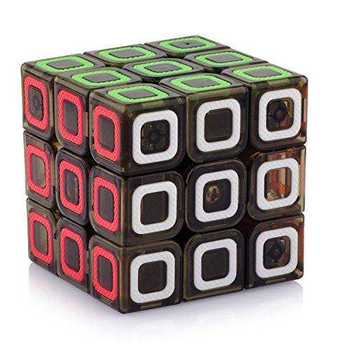 D-FantiX Qiyi Mofangge Dimension Speed Cube 3x3 Stickerless Smooth Magic Cube Puzzles Transparent Black 57mm