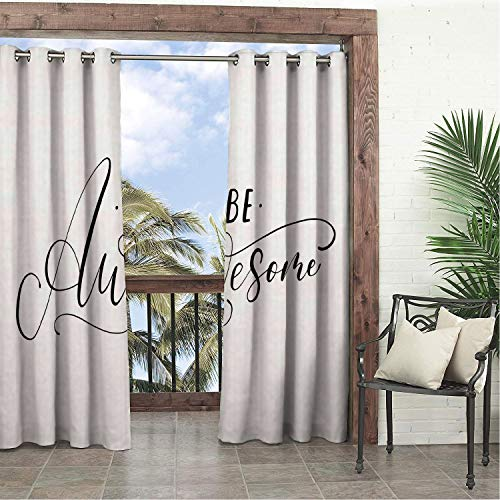(Balcony Waterproof Curtains Be Awesome Hand Written Lettering Design Fine Line Art Style Doodled Details Black and White Porch Grommets Decor Curtain 96 by 108 inch )