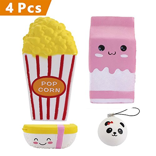 4 PCS Jumbo Super Soft Squishies, Cute Mini Panda/Pink Milk Carton/Large Popcorn/Kawaii Sushi Squishy Slow Rising Decompression Squeeze Toys Funny Scented Time-killer Colletion Toys for Stress Relief