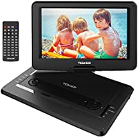 TENKER 14 Portable DVD Player With Swivel Screen, 3 Hours Rechargeable Battery With SD Card Slot And USB Port, Black