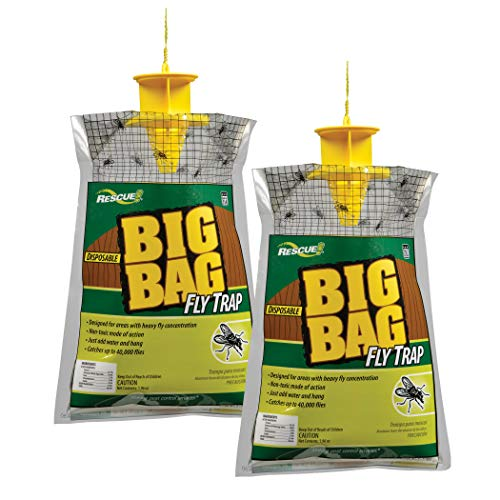 RESCUE Outdoor Non-Toxic Disposable Big Bag Fly Trap, 2 Pack (Best Way To Kill Flies Outdoors)