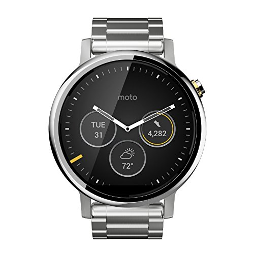 Motorola Moto 360 (2nd Gen.) - Mens 46mm, Silver with Silver Metal (Send A Sms Text From A Link)