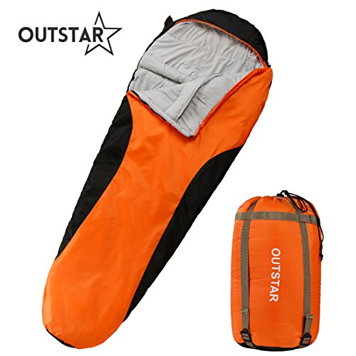 OUTSTAR Lightweight Waterproof Mummy Sleeping Bag With Compression Sack for Kids or Adults Outdoor Camping, Travelling, Hiking & Backpacking (Orange & Black / Left Zip)