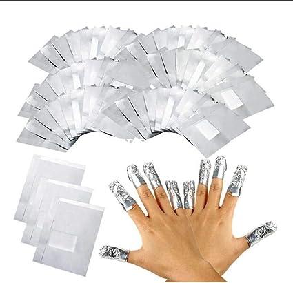 LUVODI 100PCS Tiras Quitaesmalte de Papel de Aluminio Removedor de ...