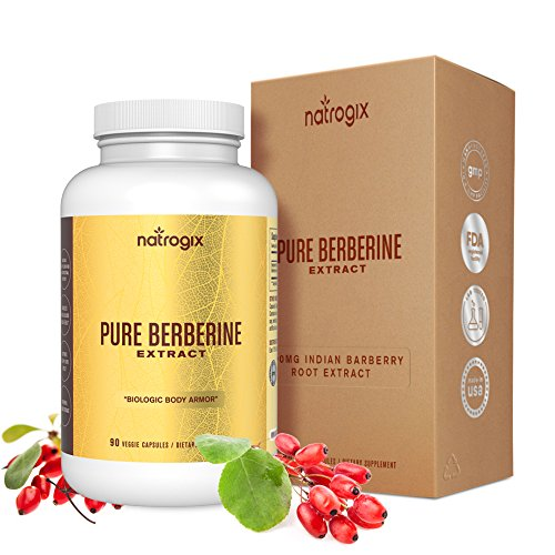 Berberine 1000mg / Serving by Natrogix Blood Sugar Supplement Hydrochloride HCl Extract - Support Blood Sugar Levels & Glucose Metabolism, Immune System, Cardiovascular,Third-party Tested-90 VCapsules