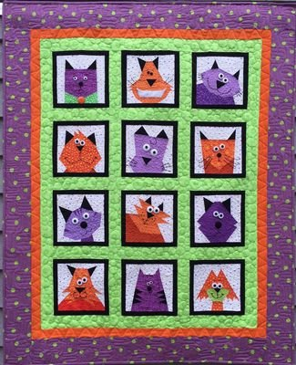 Made by Marney Paper Pieced Quilt Pattern - Crazy Cats (45