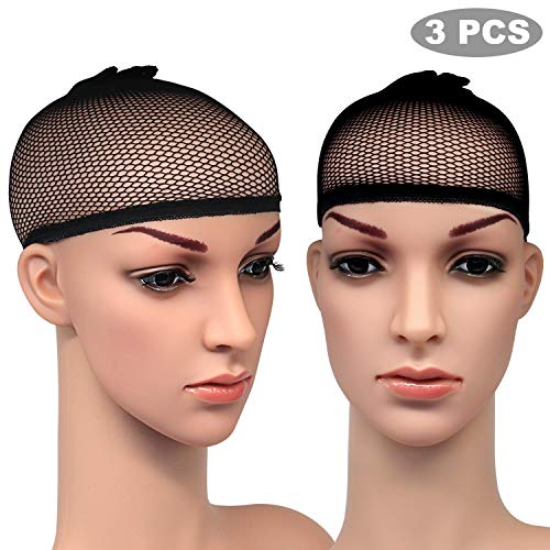 Blisstime Pack of 3 Wig Cap Open End Black Mesh Net Liner Weaving Cap