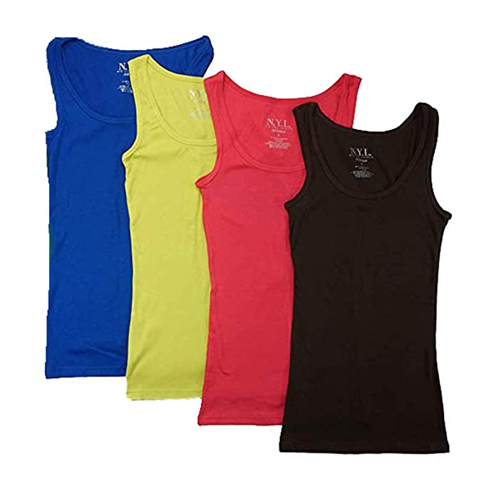 bda2f43af7256 N.Y.L Women s 5 Pack Ribbed Cotton Tank Tops-Assorted Color at ...