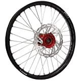 Warp 9 MX Complete Front Wheel - Red Hub with Black Painted Rim (21x1.60'')