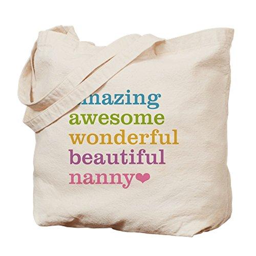CafePress Nanny - Amazing Awesome Natural Canvas Tote Bag, Cloth Shopping Bag (Tote Nanny Bag)