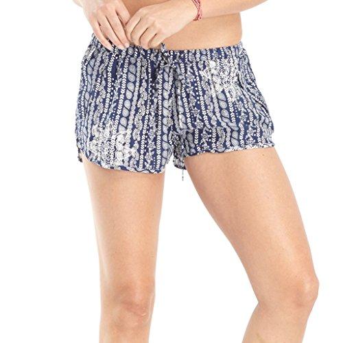 920931837c Lagaci Women's Floral Shorts Paisley Print Drawstring Shorts with Pockets  (Navy, Medium)