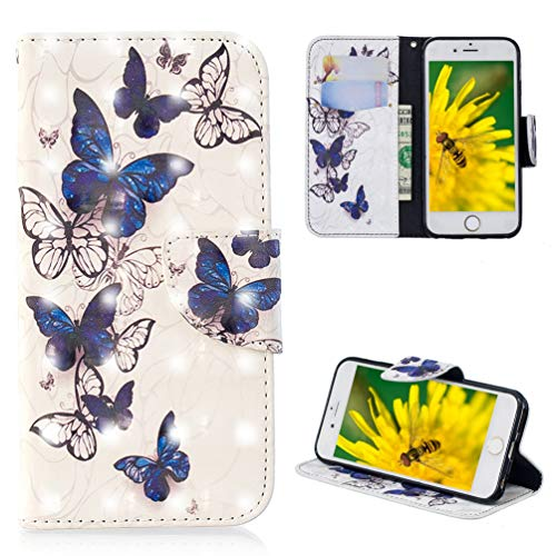 iPhone 6 Case, iPhone 6s Case, Wallet Case Cover Diamond Tower PU Leather Credit ID Card Bumper Magnetic Flip Protective Skin Shell for iPhone 6/6s ZSTVIVA - Blue White Butterfly