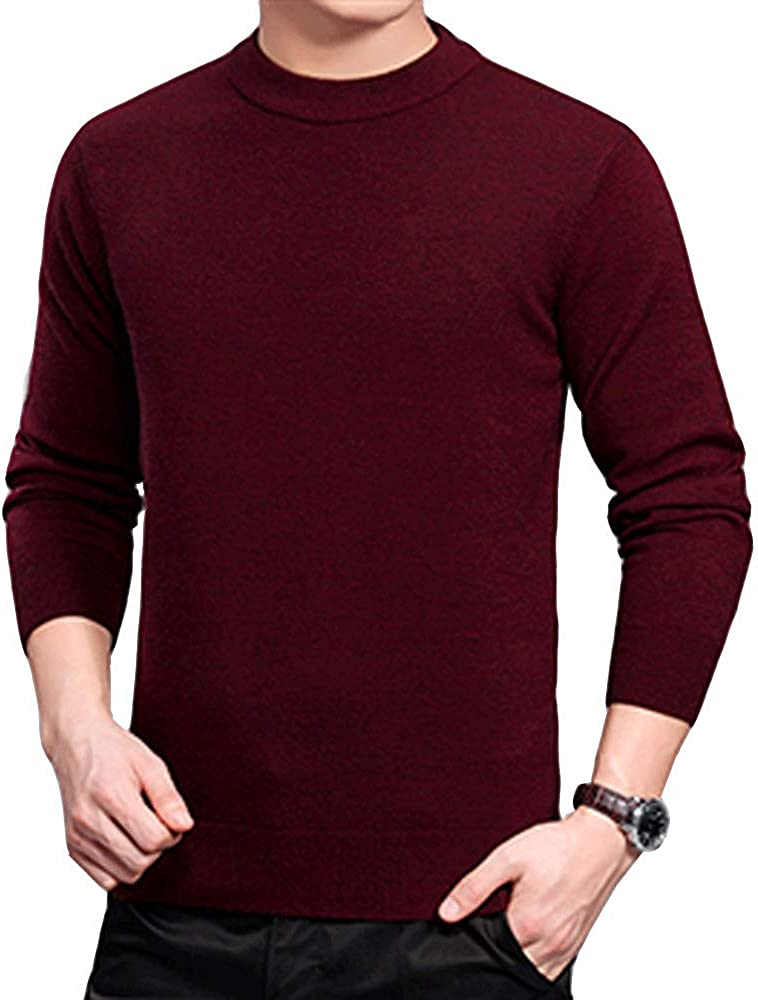 HIENAJ Mens Crew Neck Solid Sweaters Long Sleeve Knitted Pullover Fitted Sweater