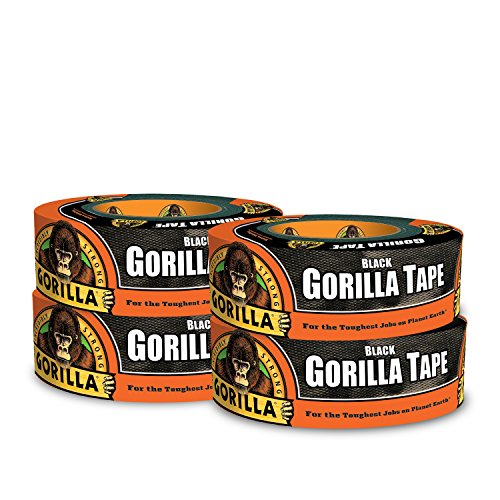 Gorilla Tape, Black Duct Tape, 1.88 in. x 35 yd, Black, (Pack of 4) from Gorilla