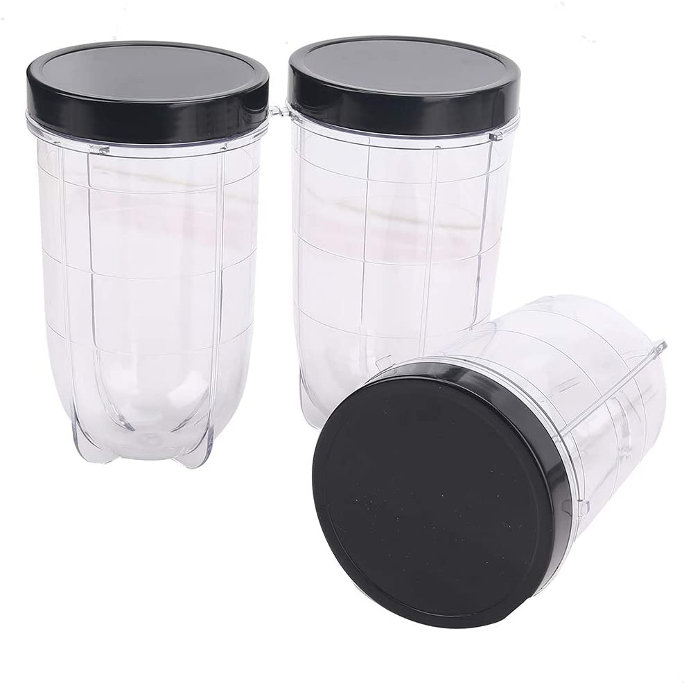 3 Pack 16 OZ Cups Containers with Lids Replacement Part Small Cup Mug Compatible with 250w MB1001 Magic Bullet Mugs & Cups Blender Juicer Mixer (6 Piece Set)