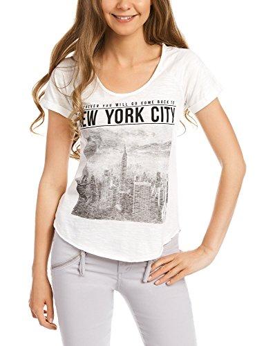 oodji Ultra Mujer Camiseta con Estampado Urbano Blanco (1223P)