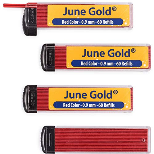 (June Gold 240 Red Colored Lead Refills, 0.9 mm, Bold Thickness for Moderate Use, Break Resistant with Convenient Dispensers)