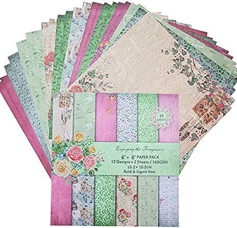 Style A Blumenmuster Karten 24PCS Gemustertes Papier Scrapbooking Papier 30.5X30.5cm Vintage Album Karten Motivpapier 24 Verschiedene Motive Dekopapier F/ür DIY Handgemachte Bastelarbeiten