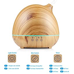 NexGadget 400ml Ultrasonic Aroma Essential Oil Diffuser, Wood Grain Cool Mist Humidifier for Home Living Room Baby Room Study Office Spa Yoga, 4 Timer Setting With Auto Shut-off Function