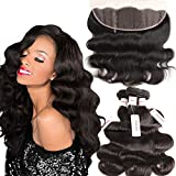 Brazilian Body Wave 3 Bundles with Lace Frontal Closure Unprocessed Human Hair Extensions Tangle Free Human Hair Virgin Weave Weft Natural Color 14 16 18 With 12inch