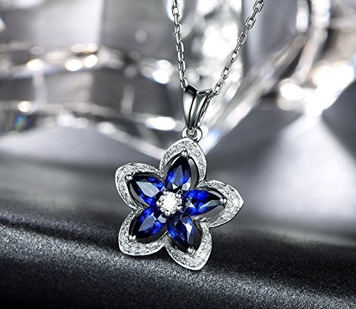 Solid 18k white gold Pendant,0.18ct SI-H Diamond pendant for necklace,1.55ct Pear Natural Blue Sapphire,Pave - Ct Diamond 0.18 Si