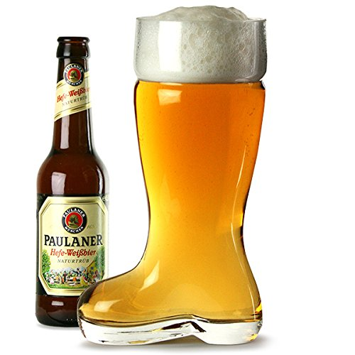 bar@drinkstuff Glass Beer Boot 2 Pint - 24.5cm Glass Boot Holds 1.3 Litres to the Brim 6093225