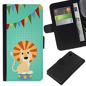 // PHONE CASE GIFT // Moda Estuche Funda de Cuero Billetera Tarjeta de crédito dinero bolsa Cubierta de proteccion Caso Sony Xperia Z1 L39 / FUNNY - LION CARTOON PARTY /