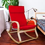 SoBuy Haotian Comfortable Relax Rocking Chair with Foot Rest Design, Lounge Chair, Recliners Poly-cotton Fabric Cushion, (FST15-R)