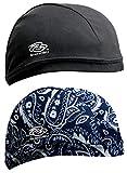 Shinobu Riders Japan INVISTA Coolmax 2-Packs Quick Drying Helmet Skull Cap Beanie (One Size) Black & Navy Western SR-122