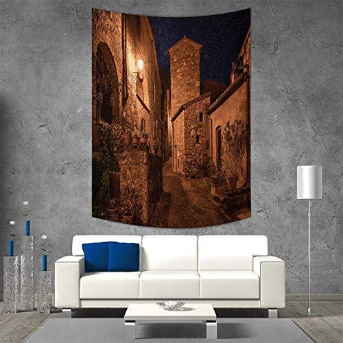 (smallbeefly Ancient Tapestry Wall Tapestry Street Aged Antique Tuff City Stone Houses Roman Cityscape Illuminated Art Photo Art Wall Decor 60W x 80L INCH Tan )