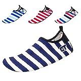 JACKSHIBO Kids Mutifunctional Barefoot Quick-Dry Water Shoes Lightweight Aqua Socks for Swim Beach Pool Surf Yoga Exercise,Stripess-Blue,28-29