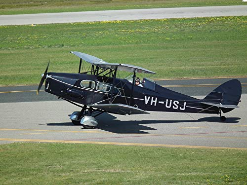 Home Comforts Canvas Print De-Havilland Biplane Vintage Aircraft Dh-83 Vivid Imagery Stretched Canvas 32 x 24