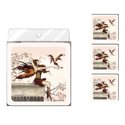 Tree-Free Greetings NC37597 Amy Brown Fantasy 4-Pack Artful Coaster Set, Touch of Enchantment -
