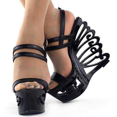 talón novia mariposa zapatos cuña Show forma Sexy lf51801 de en tiras Story negro sandalias de boda vv81xfPqw