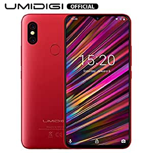 """UMIDIGI F1 Mobile Phones Unlocked Android 9.0 6.3"""" FHD+ 128GB ROM 4GB RAM Helio P60 5150mAh Big Battery 18W Fast Charge Smartphone NFC 16MP+8MP Phone' (Red)"""