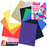 SISER EasyWeed Heat Transfer T-Shirt Vinyl Variety Pack, 12 Inch x 15 Inch, Top 12 Color Assorted Bundle, 100% Authentic