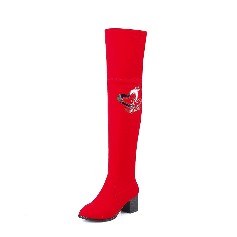 AllhqFashion Women's Solid Kitten-Heels Round Closed Toe Imitated Suede Zipper Boots