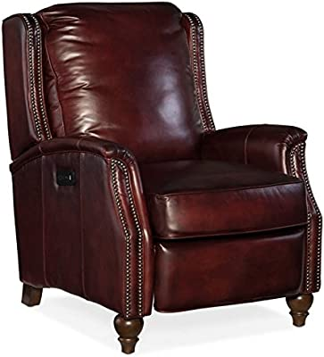 Hooker Furniture Bran Leather Power Recliner In Checkmate Defense