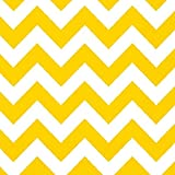 Amscan Disposable Chevron Print Beverage Napkins Tableware, 16 Pieces, Made from Paper, Sunshine Yellow