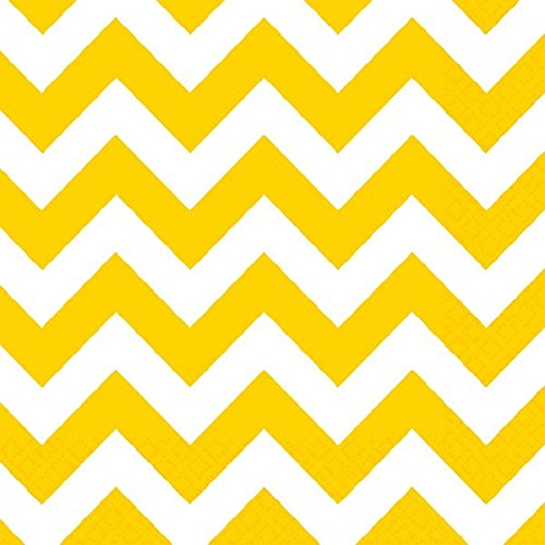 Amscan Disposable Chevron Print Beverage Napkins Tableware, 16 Pieces, Made from Paper, Sunshine Yellow by Amscan